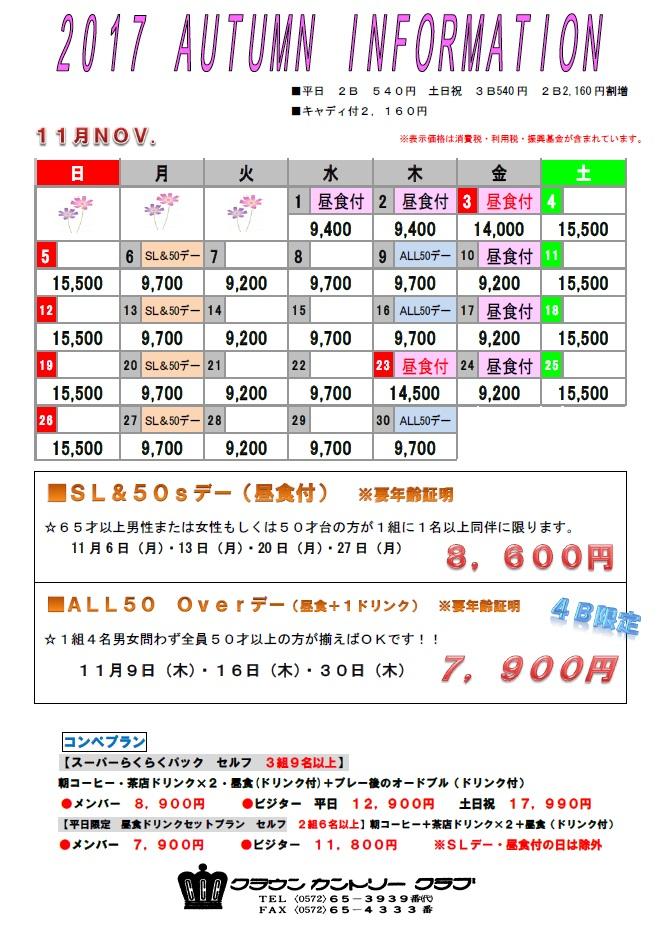 H29・11月料金表
